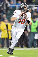 Oklahoma State quarterback Mason Rudolph (10) looks downfield to throws a pass during an NCAA football game, Saturday, November 22, 2014 in Waco, Tex. Baylor defeated Oklahoma State 49-28. (Mo Khursheed/TFV Media via AP Images)