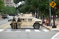 Military vehicles line the street prior to the Independence Day Parade along Constitution Avenue in Washington DC on July 4, 2019.<br /> CAP/MPI/CNP<br /> ©CNP/MPI/Capital Pictures
