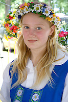 Young teen dressed in traditional outfit. Svenskarnas Dag Swedish Heritage Day Minnehaha Park Minneapolis Minnesota USA