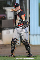 Josh Phegley Catcher Kannapolis Intimidators (Chicago White Sox) warms up at McCormick Field August 13, 2009 in Asheville, NC (Photo by Tony Farlow/MiLB.com)
