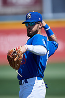 Rancho Cucamonga Quakes Jacob Amaya (25) warms up before a California League game against the Inland Empire 66ers at LoanMart Field on September 2, 2019 in Rancho Cucamonga, California. Rancho Cucamonga defeated Inland Empire 4-3. (Zachary Lucy/Four Seam Images)