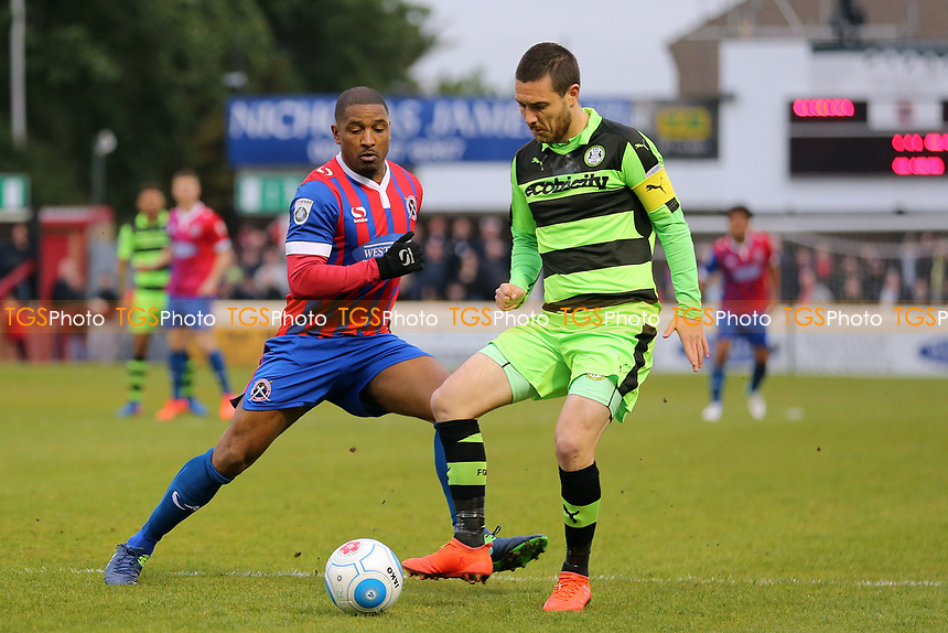 Andre Boucaud of Dagenham and Redbridge and Liam Noble of Forest Green Rovers during Dagenham & Redbridge vs Forest Green Rovers, Vanarama National League Play-Off Semi-Final Football at the Chigwell Construction Stadium on 4th May 2017