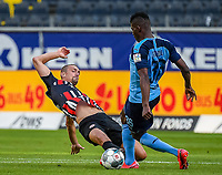 Stefan Ilsanker (Eintracht Frankfurt), Breel Embolo (Borussia Moenchengladbach) - 16.05.2020, Fussball 1.Bundesliga, 26.Spieltag, Eintracht Frankfurt  - Borussia Moenchengladbach emspor, v.l. Stadionansicht / Ansicht / Arena / Stadion / Innenraum / Innen / Innenansicht / Videowall<br /> <br /> <br /> Foto: Jan Huebner/Pool VIA Marc Schüler/Sportpics.de<br /> <br /> Nur für journalistische Zwecke. Only for editorial use. (DFL/DFB REGULATIONS PROHIBIT ANY USE OF PHOTOGRAPHS as IMAGE SEQUENCES and/or QUASI-VIDEO)