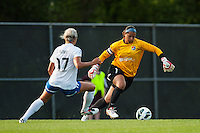 Sky Blue FC goalkeeper Brittany Cameron (1) keeps the ball away from Boston Breakers forward Kyah Simon (17). Sky Blue FC defeated the Boston Breakers 5-1 during a National Women's Soccer League (NWSL) match at Yurcak Field in Piscataway, NJ, on June 1, 2013.