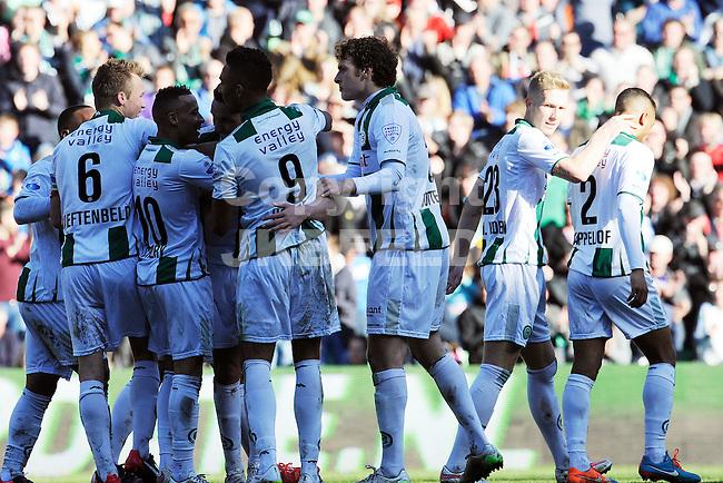 GRONINGEN - Voetbal, FC Groningen - FC Twente, Eredivisie, Euroborg, seizoen 2014-2015, 22-03-2015,  groningen viert de 2-2
