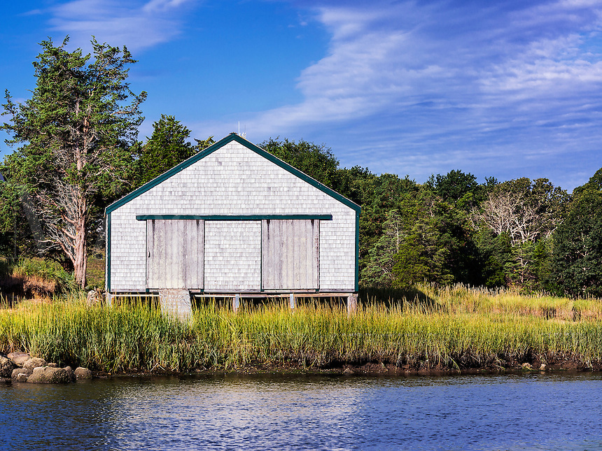 Rustic boathouse, Eastham, Cape Cod, Massachusetts, USA