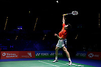 14th March 2020, Arena Birmingham, Birmingham, UK;  Chinas Shi Yuqi competes during the mens singles quarterfinal match with Denmarks Viktor Axelsen at All England Badminton 2020 in Birmingham