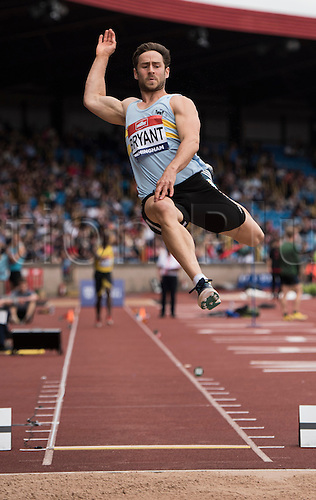 26.06.2016. Alexander Stadium, Birmingham, England. The British Athletics Championships 2016.<br /> Ashley Bryant Competes in the Mens Long Jump Final at the British Athletics Championships in Birmingham.