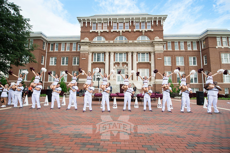 The MSU Cheerleaders led students during The Drill pep rally Monday, Aug. 22, which was part of Mississippi State's 11th annual Dawg Daze event series for incoming freshmen and transfer students.<br />  (photo by Beth Wynn / &copy; Mississippi State University)