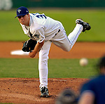 31 August 2007:  Vermont Lake Monsters pitcher Glenn Gibson on the mound against the Oneonta Tigers at Historic Centennial Field in Burlington, Vermont. The Tigers defeated the Lake Monsters 5-4 in New York-Penn League action...Mandatory Photo Credit: Ed Wolfstein Photo