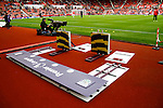 Stoke City 1 West Bromwich Albion 1, 24/09/2016. Bet365 Stadium, Premier League. The Premier League sign with the teams names and badges. The sign is used as a background when the players shake hands before kick off. Photo by Paul Thompson.