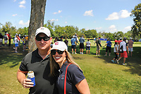 Two Chicago Cubs fans switch gears to avid golf fans on the number 2 tee box and 17 green during Saturday's round 3 of the 2017 KPMG Women's PGA Championship, at Olympia Fields Country Club, Olympia Fields, Illinois. 7/1/2017.<br /> Picture: Golffile | Ken Murray<br /> <br /> <br /> All photo usage must carry mandatory copyright credit (&copy; Golffile | Ken Murray)