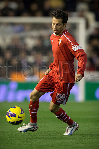 12.01.2013 Valencia, Spain. Defender Alex Cicinho of Sevilla in action during the Spanish La Liga game between Valencia CF and Sevilla CF from the Mestalla.