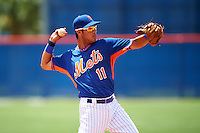 GCL Mets third baseman Rigoberto Terrazas (11) throws to first during a game against the GCL Marlins on August 12, 2016 at St. Lucie Sports Complex in St. Lucie, Florida.  GCL Marlins defeated GCL Mets 8-1.  (Mike Janes/Four Seam Images)