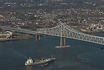 Aerial view of the Southampton Star Vessel traveling north towards philadelphia and the Commordore Barry Bridge along the Delaware River Aerial view of Nautical Vessel Aerial view of Nautical Vessel Aerial view of Nautical Vessel