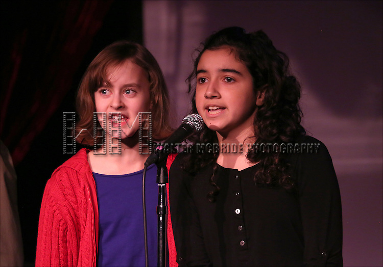 Sydney Lucas and Alexandria Suarez performing at The Lilly Awards Broadway Cabaret'   at The Cutting Room on November 9, 2015 in New York City.
