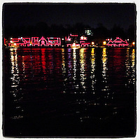Boathouse Row is lit up red for heart awareness month on February 1, 2013.