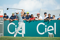 Kurt Kitayama (USA) on the 17th tee during the 3rd round of the AfrAsia Bank Mauritius Open, Four Seasons Golf Club Mauritius at Anahita, Beau Champ, Mauritius. 01/12/2018<br /> Picture: Golffile | Mark Sampson<br /> <br /> <br /> All photo usage must carry mandatory copyright credit (&copy; Golffile | Mark Sampson)