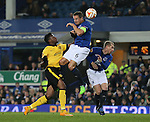 Divock Origi of Lille pressures Phil Jagielka of Everton and Leon Osman of Everton - UEFA Europa League - Everton vs  Lille - Goodison Park Stadium - Liverpool - England - 6th November 2014 - Pic Simon Bellis/Sportimage