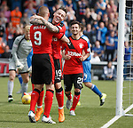 Barrie McKay celebrates his goal with Kenny Miller