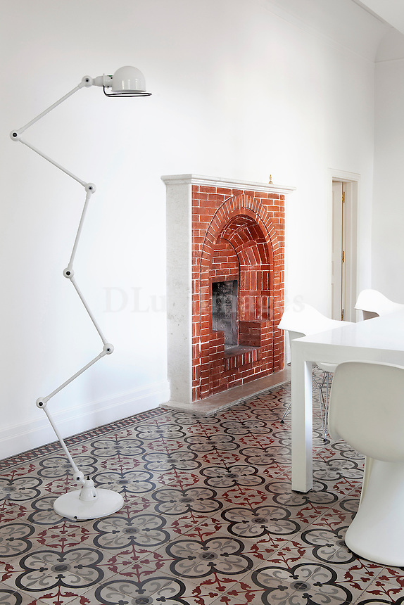 brick fireplace in the dining room