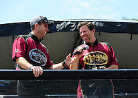 Jun. 17, 2011; Bristol, TN, USA: NHRA top fuel driver Larry Dixon (left) and teammate Del Worsham during qualifying for the Thunder Valley Nationals at Bristol Dragway. Mandatory Credit: Mark J. Rebilas-