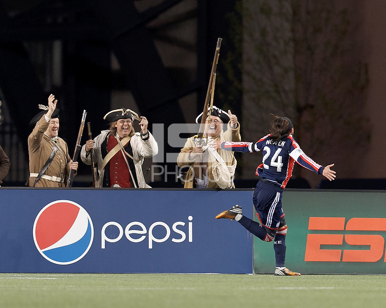 New England Revolution midfielder Lee Nguyen (24) celebrates his goal with the New England End Zone Militia.In a Major League Soccer (MLS) match, the New England Revolution (blue/red) defeated Philadelphia Union (blue/white), 2-0, at Gillette Stadium on April 27, 2013.