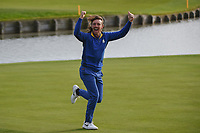 Tommy Fleetwood (Team Europe) revs up the crowd following   Sunday's singles of the 2018 Ryder Cup, Le Golf National, Guyancourt, France. 9/30/2018.<br /> Picture: Golffile | Ken Murray<br /> <br /> <br /> All photo usage must carry mandatory copyright credit (© Golffile | Ken Murray)