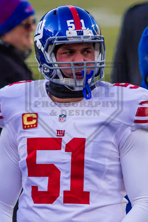 New York Giants long snapper Zak DeOssie (51) prior to a game against the Green Bay Packers on January 8th, 2017 at Lambeau Field in Green Bay, Wisconsin.  Green Bay defeated New York 38-13. (Brad Krause/Krause Sports Photography)