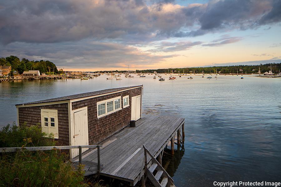 Mount Desert Island, Maine:<br /> Southwest Harbor boat shed and dock at dusk