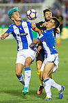 Atletico de Madrid's Yannick Ferreira Carrasco and Club Deportivo Leganes's Unai Bustinza and Martin Mantovani  during the match of La Liga between Club Deportivo Leganes and Atletico de Madrid at Butarque Estadium in Leganes. August 27, 2016. (ALTERPHOTOS/Rodrigo Jimenez)