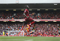 Liverpool's Sadio Mane celebrates scoring his side's second goal <br /> <br /> Photographer Rob Newell/CameraSport<br /> <br /> The Premier League - Liverpool v West Ham United - Sunday August 12th 2018 - Anfield - Liverpool<br /> <br /> World Copyright &copy; 2018 CameraSport. All rights reserved. 43 Linden Ave. Countesthorpe. Leicester. England. LE8 5PG - Tel: +44 (0) 116 277 4147 - admin@camerasport.com - www.camerasport.com