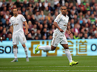 Pictured: Wayne Routledge of Swansea Sunday 30 August 2015<br /> Re: Premier League, Swansea v Manchester United at the Liberty Stadium, Swansea, UK