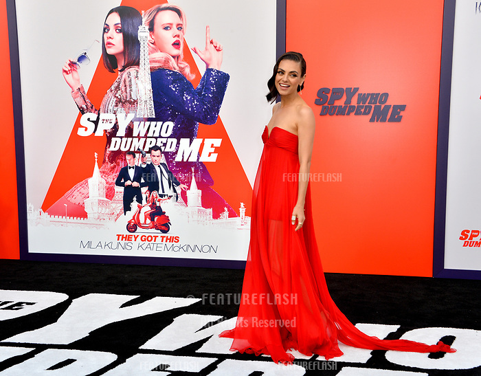 Mila Kunis at the world premiere for &quot;The Spy Who Dumped Me&quot; at the Fox Village Theatre, Los Angeles, USA 25 July 2018<br /> Picture: Paul Smith/Featureflash/SilverHub 0208 004 5359 sales@silverhubmedia.com
