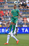 Keanu Marsh-Brown (7) of Guyana (front) and Carlyle Mitchell (12) of Trinidad and Tobago vie for a header during their Gold Cup match on June 26, 2019 at Children's Mercy Park in Kansas City, KS.<br /> Tim VIZER/AFP