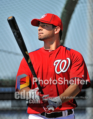 19 February 2011: Washington Nationals' catcher Jesus Flores prepares for hitting drills during Spring Training at the Carl Barger Baseball Complex in Viera, Florida. Mandatory Credit: Ed Wolfstein Photo