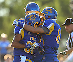 BROOKINGS, SD - SEPTEMBER 6:  Trevor Wesley #80 from South Dakota State University celebrates a touchdown with teammates against Cal Poly in the first half of their game Saturday evening at Coughlin Alumni Stadium in Brookings.(Photo/Dave Eggen/Inertia)