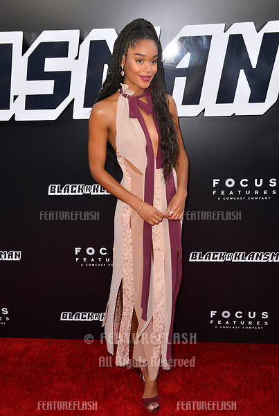 """Laura Harrier at the Los Angeles premiere of """"BlacKkKlansman"""" at the Academy's Samuel Goldwyn Theatre, Beverly Hills, USA 08 Aug. 2018<br /> Picture: Paul Smith/Featureflash/SilverHub 0208 004 5359 sales@silverhubmedia.com"""