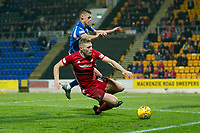 24th November 2019; McDairmid Park, Perth, Perth and Kinross, Scotland; Scottish Premiership Football, St Johnstone versus Aberdeen; Sam Cosgrove of Aberdeen challenges for the ball with Wallace Duffy of St Johnstone  - Editorial Use