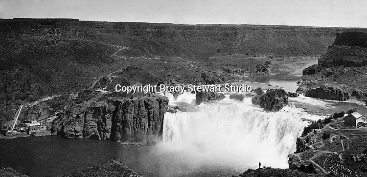 Twin Falls ID:  Shoshone Falls and pumping station - 1910. Sometimes called the Niagara of the West, Shoshone Falls is 36 feet higher than Niagara Falls and flows over a rim 900 feet wide.   Brady Stewart and three friends went to Idaho on a lark from 1909 thru early 1912. As part of the Mondell Homestead Act, they received a land grant of 160 acres north of the Snake River.  For 2 ½  years, Brady Stewart photographed the adventures of farming along with the spectacular landscapes.