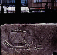 A man of the sea, Kornelios Arrianos once lay in this Roman-era stone sarcophagus, now in the Sinop Museum. A merchant ship and a harbor boat decorate its side.