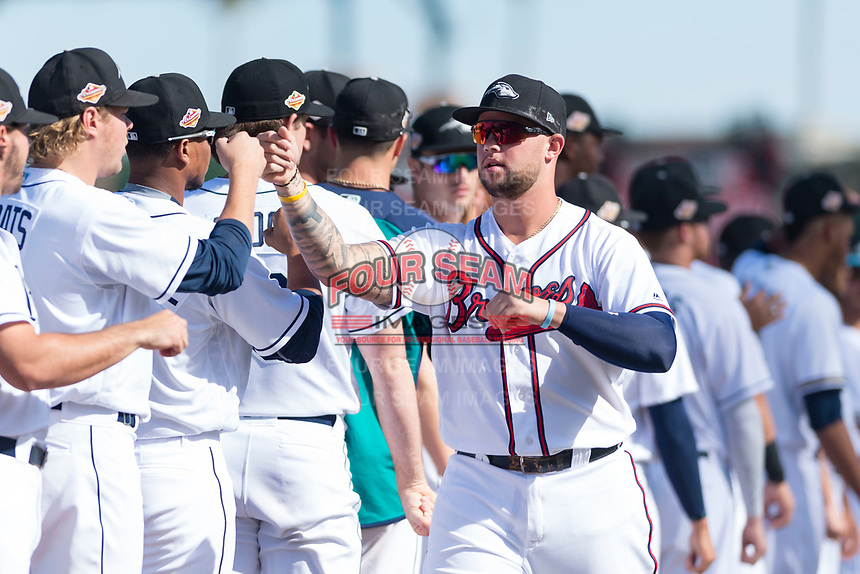 Peoria Javelinas first baseman Braxton Davidson (34), of the Atlanta Braves organization, during player introductions before the Arizona Fall League Championship game against the Salt River Rafters at Scottsdale Stadium on November 17, 2018 in Scottsdale, Arizona. Peoria defeated Salt River 3-2 in 10 innings. (Zachary Lucy/Four Seam Images)