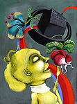 Illustrative image of woman eating radish representing healthy living