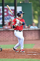 Elizabethton Twins right field Alex Kirilloff (30) swings at a pitch during a game against the Bristol Pirates at Joe O'Brien Field on July 30, 2016 in Elizabethton, Tennessee. The Twins defeated the Pirates 6-3. (Tony Farlow/Four Seam Images)