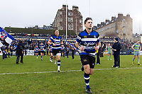 Darren Allinson and the rest of the Bath Rugby team run out onto the field. Anglo-Welsh Cup match, between Bath Rugby and Newcastle Falcons on January 27, 2018 at the Recreation Ground in Bath, England. Photo by: Patrick Khachfe / Onside Images