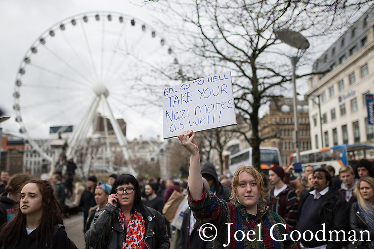 """© Joel Goodman - 07973 332324 . 28/03/2015 . Manchester , UK . A counter protest against the neo-Nazis . Approximately 100 neo-Nazis gather in Manchester for """" White Pride Worldwide day """" . Photo credit : Joel Goodman"""