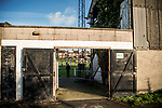 Harwich & Parkeston 2 Barnston 0, 11/11/2017. Royal Oak Ground, Andreas Carter Essex & Suffolk Border League Premier Division. Harwich & Parkeston reached the final of the Amateur Cup in 1953 at Wembley Stadium and played in front of a crowd of 100,000. <br /> A glimpse of the action form outside the Royal Oak Ground. Photo by Simon Gill.