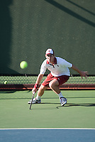 Stanford, CA -- February 4, 2012:John Morrissey  during the Saturday afternoon Stanford vs UCLA match at Taube Family Tennis Stadium.<br /> <br /> No.6 Stanford suffered a 6-1 loss to No. 9 UCLA.