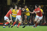 Australia's Kurtley Beale breaks past Wales' Gareth Anscombe<br /> <br /> Photographer Ian Cook/CameraSport<br /> <br /> Under Armour Series Autumn Internationals - Wales v Australia - Saturday 10th November 2018 - Principality Stadium - Cardiff<br /> <br /> World Copyright © 2018 CameraSport. All rights reserved. 43 Linden Ave. Countesthorpe. Leicester. England. LE8 5PG - Tel: +44 (0) 116 277 4147 - admin@camerasport.com - www.camerasport.com