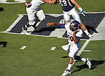 Northwestern State's Brad Henderson throws a pass under pressure during the first half of an NCAA college football game against Nevada on Saturday, Sept. 15, 2012, in Reno, Nev. (AP Photo/Cathleen Allison)